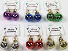 Novelty Christmas Coloured Bauble Motif Drop Dangle Earrings - Xmas Accessories