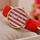 NEW Womens Ladies Round Faux Leather Stripe Pattern Sailor Fashion Cute Watch SA