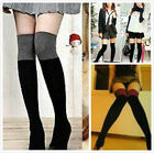 Pair Womens Lady Two Tone Thigh High Over Knee Socks Leg Warmer Stocking 6Color