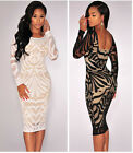 Lady Sexy Backless Long Sleeve Pencil Dress Bodycon Party Evening Club Dress