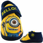 Boys Size 6 - 12 Blue DESPICABLE ME MINIONS Touch Fastening Slippers Bello