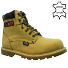 MENS LEATHER SAFETY WORK BOOTS STEEL TOE CAP MID SOLE ANKLE HIKER SHOES SIZE NEW