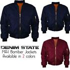 Mens Pilot Army Military Denim State MA-1 Bomber Harrington Jacket Size S M L XL