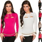 Women's Lace Up Sweater Pullover Top - S/M (USA 2-4-6)