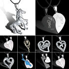 Unisex Women Men's Horse Stainless Steel Pendant Necklace Leather Heart Love Hot