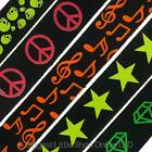 NEW Various Designs BLACK Neon UV Fashion Webbing BELT Goths Punks Skaters