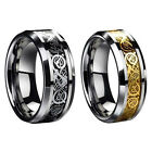 8mm Stainless Steel Ring Men/Women's Wedding Band Silver Gold Size 6-12 H