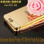 For HTC One A9 Luxury Aluminum Metal Frame +PC Mirror Push-Pull Case Skin Cover