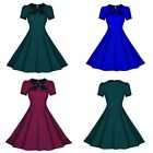 1950s Rerto Short Sleeve Crew Neck Bowknot Prom Swing Pleated Evening Dress