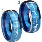 Tungsten LOTR Lord Of the Ring 8MM Blue Mirror Dome 2 Tone Ring