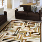 Beige Brown Modern Abstract Area Rug Contemporary Geometric Cubes Squares Carpet