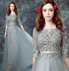 Fashion gray long sleeve Formal Party Prom Gown Bridesmaid Wedding Dress L596