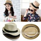 Boys Girls Baby Summer Trilby Floppy Fedora Straw Wide Brim Beach Cap Sun UV Hat