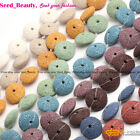 27mm Volcanic Lava Stone Rock Beads Jewelry Making Loose Beads 15'' Disc-shaped