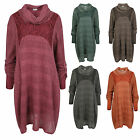 Ladies Womens Lagenlook Layered 3 Piece Midi Knitted Lace Jumper Dress Top