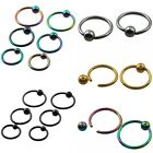 Ball Closure Ring Captive Bead BCR 16Ga Nose Ear Tragus Hoop Lip Piercing 1PC