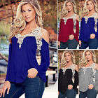 Womens Lace Off Shoulder Tops Blouse Fashion Crochet Long Sleeve Casual T-Shirt