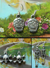 SKULL SKELETON EARRINGS FOR PIERCED EARS TIBETAN SILVER DROP DANGLE SUGAR
