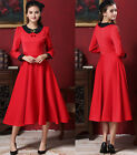 Retro Women's Cherry Doll Collared Long-sleeved Long Maxi Big Swing Dresses