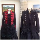 WHITBY STEAMPUNK GOTH MILITARY STYLE RED BLACK FLEECE COAT JACKET M  XL 7374