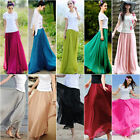 Retro Womens Double Layer Chiffon Pleated Long Maxi Dress Elastic Waist Skirt