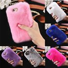Luxury Furry Rabbit Fur Bling Crystal Rhinestone Case Cover For Iphone 6 6S Plus