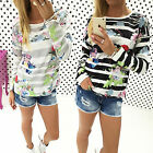 Fashion Womens Floral Loose Long Sleeve Blouse Shirt Casual Pullover Tee Tops