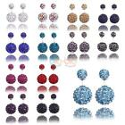 Women Silver Red Colorful Double Crystal Ball Ear stud Earrings Jewelry