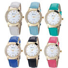 Fashion Geneva Women Watch Rhinestone Analog Leather Dress Quartz Wrist Watches