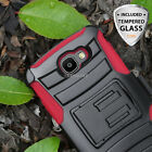 For LG Optimus Zone 3/K4/Spree/Rebel LTE Hybrid Case Armor Holster+Glass Screen