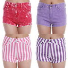 UK Ladies Red Purple StoneWash Pink Purple Striped Denim Shorts Party Hot Pants