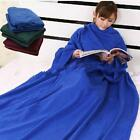 New Luxury Super Soft Warm Snug Fleece Snuggle Blanket Snuggie Wrap With Sleeves