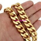 """13/15mm Gold Curb Cuban Chain Necklace 316L Stainless Steel Men's Jewelry 16-40"""""""