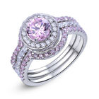 Engagement Wedding Ring Set Women 925 Sterling Silver 3pcs Pink Sapphire Sz 5-10