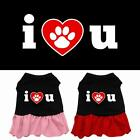 I Heart You Rhinestone Dog Dress  Valentines Day Puppy Clothes Apparel