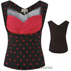 RKB31 Lindy Bop Dorelia Black Red Polka Dots Top Rockabilly Pin Up 50s Vintage