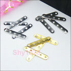 80Pcs 5-Holes Spacer Bar 3.5x20mm Silver,Gold,Dull Silver R5072