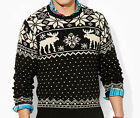 $265 Polo Ralph Lauren Mens Wool Knit Slim Intarsia Reindeer Fair Isle Sweater