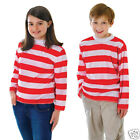 Kids Red and White Striped Top Boys Girls Book Week Fancy Dress Age 4-13 Years