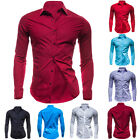 Fashion Mens Luxury Stylish Casual Dress Slim Fit T-Shirts Casual Long Sleeve
