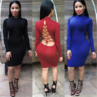 HOT Women Sexy Long Sleeve Backless Bandage Bodycon Cocktail Club Party Dress
