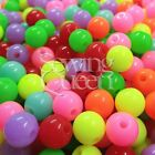 Loose 6mm Assorted Mixed Solid Plastic Acrylic Opaque Round Beads 1mm Hole LOT