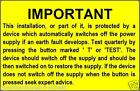 Electrical Safety RCD Test Labels - 76 x 51mm