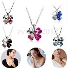 Crystal Four Leaf Clover Heart Pendant Necklace Shamrock Charm Chain Women Gift