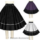 RK114 1950s Polka Dots Circle Swing Dance Skirt Rockabilly Pin Up Retro Rock
