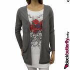 NEW WOMENS GREY BOYFRIEND POCKET CARDIGAN SIZE 8 - 18