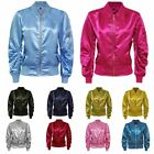 LADIES MA1 SATIN ARMY FLIGHT LIGHTWEIGHT BOMBER BIKER WOMENS SUMMER RETRO JACKET