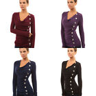 Womens Cowl Neck Casual Button Embellished Long Sleeve Blouse ShirtT-Shirt Tops