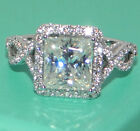 Size 6-10 925 Silver Filled White Topaz Birthstone Engagement Wedding Band Ring