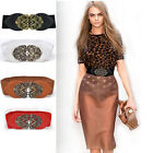 Womens Ladies Leather Retro Elastic Wrap Around Tie Corset Cinch Waist Wide Belt